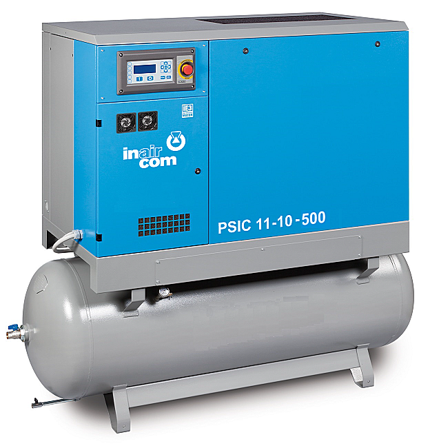 PSIC-B 11-08-500 - Stacionární šroubový kompresor na tlakové nádobě s frekvenčním měničem a kondenzační sušičkou Ilustrativní foto